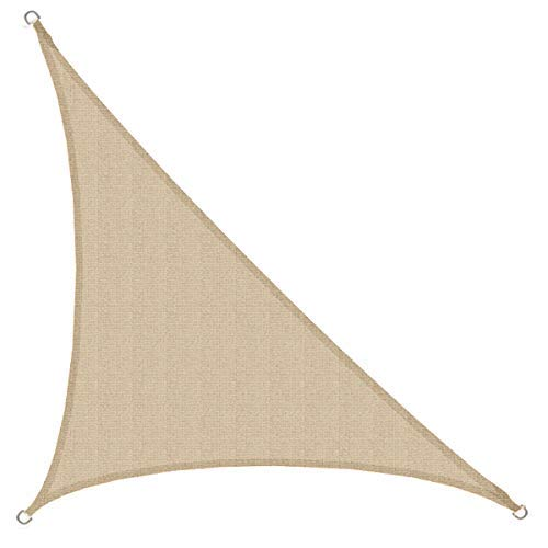 AMANKA Toldo UV - HDPE 3,6x3,6x5,1 Vela de Protección Solar Triangular - Techo Balcón Jardín Beige