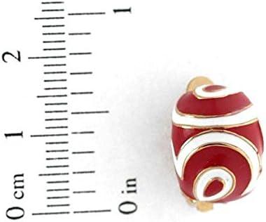 Giacinta Gold tone Red White Clip On Earrings