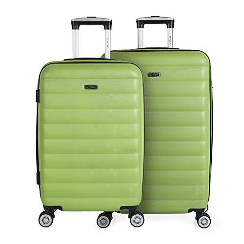 ITACA - Juego de Maletas de Viaje Rígidas 4 Ruedas Trolley 55/65/75 cm ABS. Extensibles. Cómodas Prácticas y Ligeras. Mediana y Grande. Calidad y Precio 71216, Color Pistacho