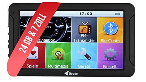 Elebest City 70 Navigationsgerät GPS Navi PKW LKW WOHNMOBIL - 7 Zoll HD Display, Freisprecheinrichtung, lebengslanges Karten Update, Blitzerwarner, Bluetooth, 24 GB, SD Karte, starker Akku