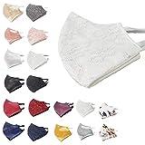 Elegante Mund- & Nasenmaske - Stoffmaske - Satin/Spitze - Waschbar Wiederverwendbar - JGA Taufe Kommunion Hochzeit Konfirmation Braut Bräutigam - Maske Alltagsmaske (Stoffmaske)