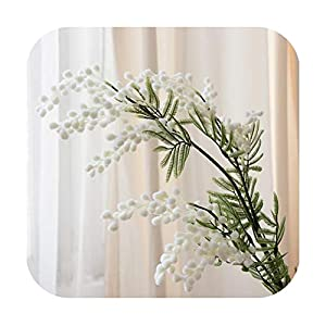 sexy-drunk 86Cm 3 Forks Artificial Acacia Yellow Mimosa Plush Pudica Spray Cherry Fake Silk Flower Wedding Party Decor Red Bean Plant-B-1 Pcs