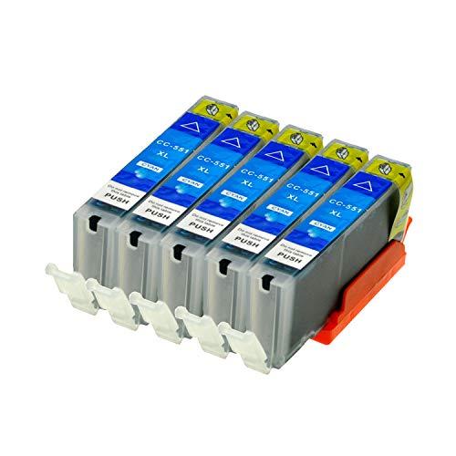 5 Druckerpatronen kompatibel für Canon CLI-551C XL IP-7250 8750 IX-6850 MG-5450 5550 6350 6450 7150 MX-725 925, Cyan