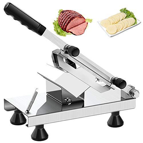 Máquina cortadora de carne manual pequeña para el hogar, Cordero Carne de vaca Cortafiambres,Cuchilla de aleación   Papa comercial, Salchicha, Cortadora de vegetales duros Cortafiambres de carne