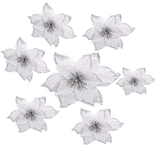 Yalulu 20 Stück Künstlich Glitzer Weihnachten Künstliche Weihnachtsblumens, Kunstblumen Weihnachtsbaumschmuck Weihnachtsblumen Weihnachtsbaumdeko Adventskränze (Silber)