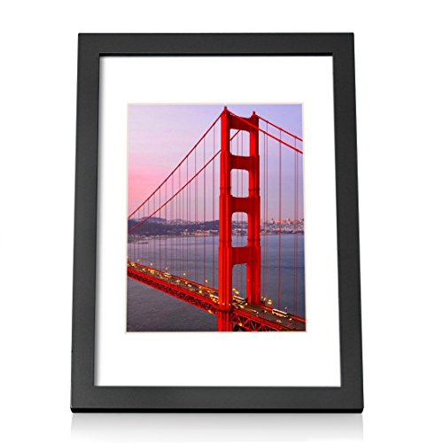 A4 Black Picture Frames Display 6x8 Wood Photo Frame with Mat Desktop for Wall Hanging or Table top