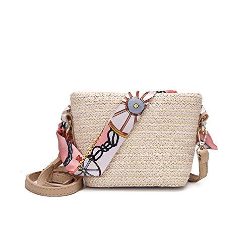 QZYT Stroh Crossbody Tasche Kleine Weibliche Schulter Messenger Gewebte Tasche Rattan Strand Strohsack-Flachen Reis_21 * 10 * 14Cm