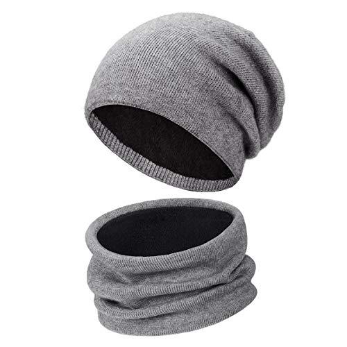 Wmcaps Conjunto de Bufanda y Gorro, Grueso Punto Calentar Beanie Sombrero Gorras...