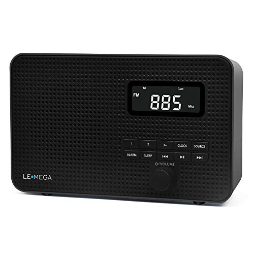 LEMEGA DR2 Portable AM/FM Digital Radio,Wireless Bluetooth, Dual Alarms Clock,Kitchen/Sleep Timer,20 Preset Stations, Headphones Output,Battery and USB Powered, Portable Radio - Pure Black