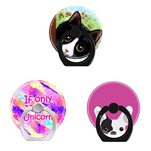 Bsxeos 360 Degree Rotation Cell Phone Ring Holder Finger Stand with Car Mount Work for All Smartphones and Tablets-Girly Unicorn-French Bulldog Portrait-Funny Tuxedo cat(3 Pack)