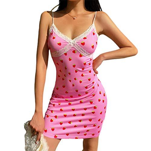 Vestido de verano sexy para mujer, cuello en V, sin mangas, encaje con estampado de fresas Vestido rosa L