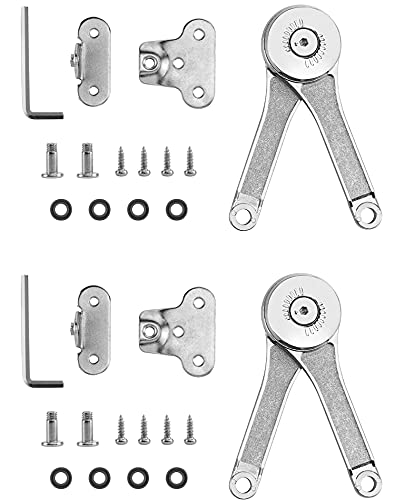 QWORK Heavy Duty Lid Support Hinge, Zinc Alloy Folding Lid Stay Hinges with Soft Close, Ideal for Cabinet,Closet,Wardrobe or Toy Box, Max Weight Support 40lb/2pcs (2 Pack)