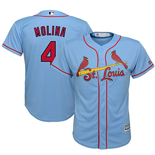 Outerstuff Yadier Molina St Louis Cardials #4 Youth 8-20 Cool Base Blue Alternate Replica Jersey (Large 14/16)