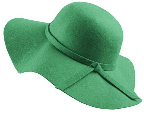 Urban GoCo Donne Ragazza Cappello di Lana Tesa Larga in Feltro Bombetta Fedora Cappello Floscio Cloche (Verde Scuro)
