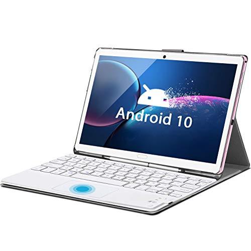 Tablet 10,8 Zoll Android 10.0 Tablet PC mit Tastatur, 10-Core, 6 GB RAM 128 GB ROM/512 GB, GMS-Zertifizierung, 8 MP+16 MP Dual-Kameras, 5G WiFi, Dual SIM, 2560x1600 FHD IPS, Face ID, GPS, OTG, Typ C