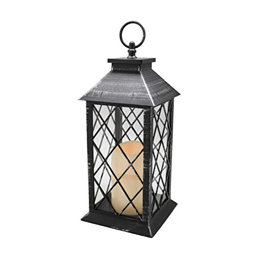 YAKii 13' Decorative Candle Lantern with LED Flameless Candle and Timer, Plastic LED Candle & Holder, Indoor & Outdoor Hanging Lights(Silver Brushed)