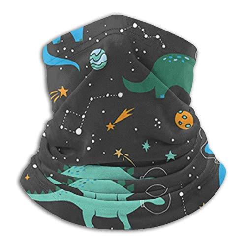 Bklzzjc Motif de Dinosaure Espace Cache-Cou en Bleu et Vert Cache-Cou guêtre Couvre-Chef Masque Foulard