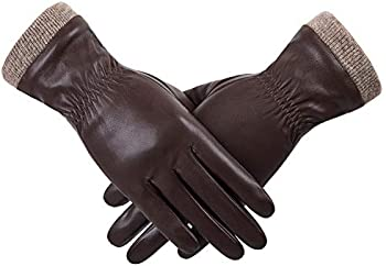 Women's Wool Fleece Lined Touchscreen Leather Gloves