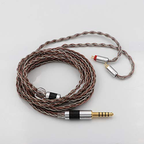 TRIPOWIN C8 8-Core Silver Copper Foil Braided Earphone Replacement Upgrade Cable, Tinsel Silver Copper Wire for KZ ZS10 PRO AS10 ZS10 ZS6 ES4 ZST ZSR ED16 TRN V80 (4.4mm Plug, 2 pin 0.78mm Connector)