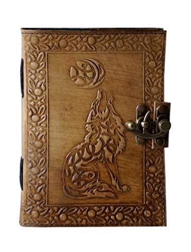 Leather Journal Writing Notebook - Antique Handmade Howl Moon Wolf Embossed Daily Notepad for Men & Women Unlined Paper 7 x 5 Inches, Best Gift for Art Sketchbook & Notebooks