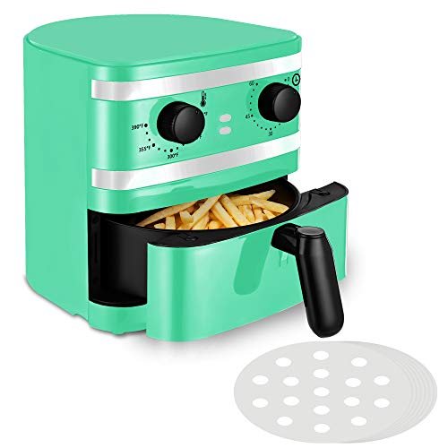 1 Quart Air Fryer, Mini Oil-Less Cooker, Home Use or Gift use, Non Stick Fryer Basket, 60 Min Timer & Temperature Control, Auto Shut-Off, 1-2 Personal Use, Auqa