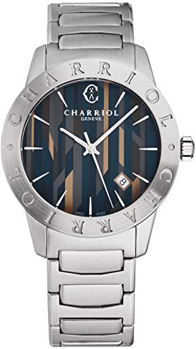 Charriol Alexandre C Mens Stainless Steel Quartz Watch - 40mm Multi Colored Inlaid Face with Luminous Hands, Second Hand, Date and Sapphire Crystal - Swiss Made Watch for Men AC40.930.003