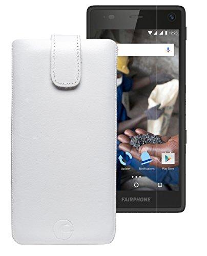 Favory Tasche Leder Etui / Fairphone 2 / ECHT Ledertasche Hülle Schutzhülle (Lasche mit Rückzugfunktion) weiss