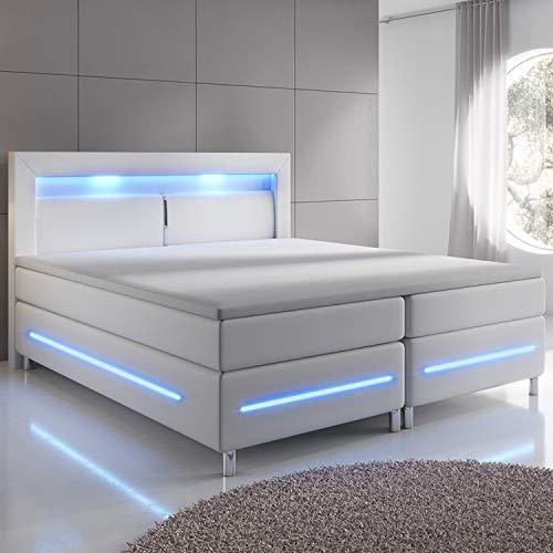ArtLife Boxspringbett Norfolk 180 x 200 cm – LED Beleuchtung, Bonell-Matratzen, Topper & Kunstleder – 66 cm Komforthöhe – weiß – Bett Doppelbett