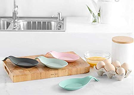 2PCS Flexible Silicone Spoon Rest Kitchen Spoon Mat Holder Silicone Spoon Utensil Holder Pure Color Modern Spoon Holder Kitchen Utensil Ladle Rests Holder Pink
