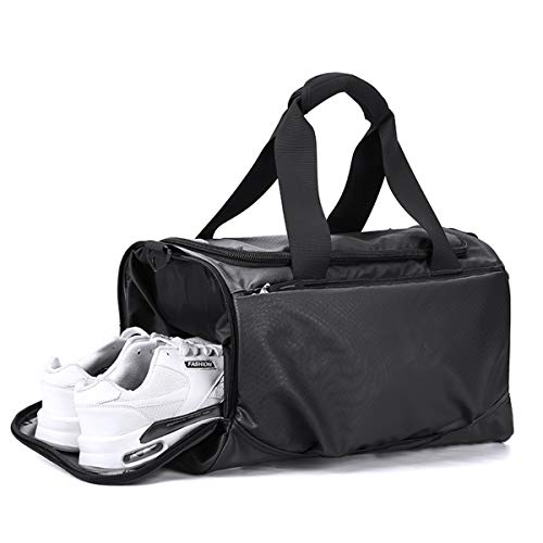 Black Weekender Travel Duffel Bag Women, Sports Tote Gym Bag for Men Women with Shoes Compartment & Adjustable Strap, Overnight Workout Carry On Bag Waterproof & Tear Resistant, Large