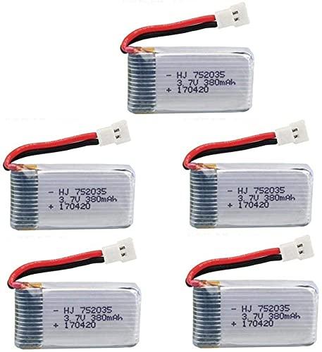 YUNIQUE ITALIA 5 Pezzi Batterie Lipo Ricaricabili per Hubsan X4 H107c H107d H107L da 3.7v 380mAh Rc Quadricottero