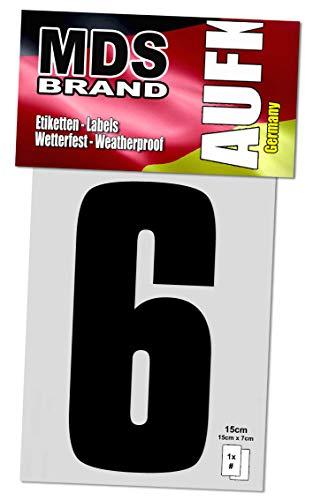 15cm Zahlenaufkleber Klebezahlen Selbstklebend Aufkleber und Nummer Etiketten Schwarz (6)