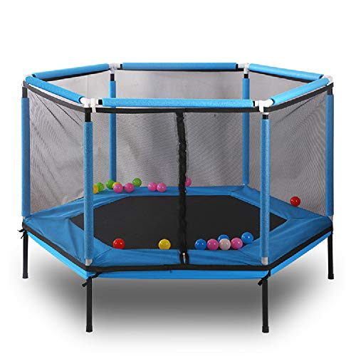 LGPNB 5ft trampolines Hexagon for kids With safety net and enclosure, Parent-child interactive game fitness Plum blossom jump bed, for Indoor Outdoor Exercise Workout Bouncer 157 * 157cm-blue