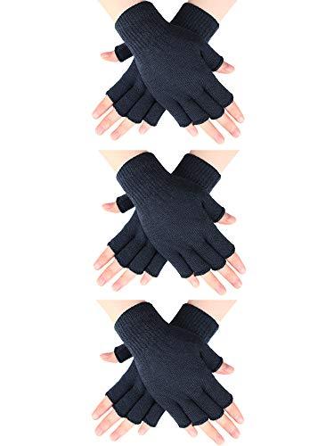 SATINIOR 3 Pares de Guantes de Medio Dedo Guantes sin Dedos de Invierno Guantes de Punto para Hombres Mujeres (Gris Oscuro)