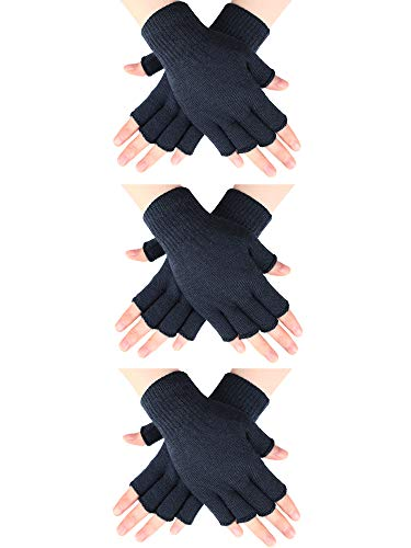 3 Pairs Half Finger Gloves Winter Fingerless Gloves Knit Gloves for Men Women (Dark Grey)