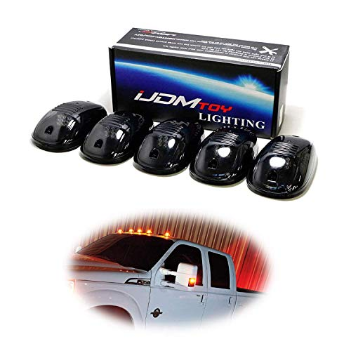 iJDMTOY 5pcs Amber LED Cab Roof Top Marker Running Lights Compatible With Truck SUV 4x4 (Black Smoked Lens Lamps)
