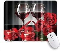 NIESIKKLAマウスパッド 赤ワインの花花の赤いバラロマンチックなアロマキャンドル ゲーミング オフィス最適 高級感 おしゃれ 防水 耐久性が良い 滑り止めゴム底 ゲーミングなど適用 用ノートブックコンピュータマウスマット