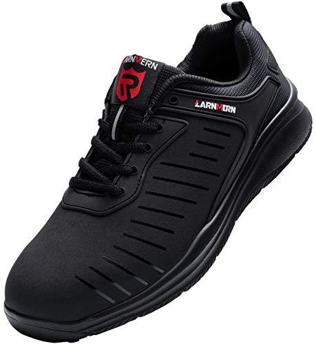 LARNMERN Sicherheitsschuhe Damen Herren Arbeitsschuhe, Leicht Stahlkappe Schuhe Reflektierend Sicherheitsstiefel Atmungsaktiv Industrie Schuhe Sicherheitssneaker LM-112, Dunkles Schwarz, 39 EU