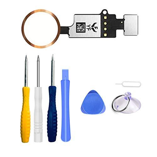 LTZGO Home Button für iPhone 7/8 /7 Plus /8 Plus Rose Hauptknopf mit Flexkabel,Reparatur Tool Kit, Werkzeug Set Reparaturset Schraubendreher für einfache Installation