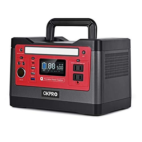 OKPRO Backup Power Supply Portable Power Station, 540Wh Outdoor Mobile Lithium Battery Pack with 110V/500W AC Outlet, 2 DC Port, Car Port Type C, Solar-Ready Generator RV Battery CPAP Power Outage Kit 200W Generators