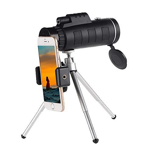Telescopio Monocular para Teléfono Móvil para Adultos 40x60 Bak4 Telescopio Portátil Profesional De Mano para Teléfono Inteligente Impermeable con Trípode para iPhone Samsung Viajar