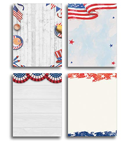 American Patriotic Stationery Printer Paper Variety Pack - 80 Sheets