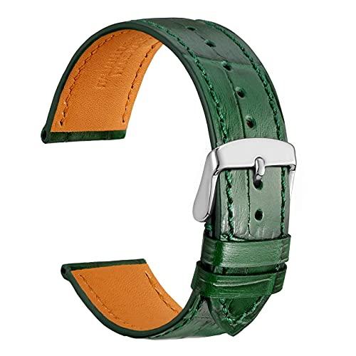 WOCCI 18mm Correa Reloj Piel para Hombre y Mujer, Grano de Cocodrilo en Relieve, Hebilla Plateada (Verde Oscuro)
