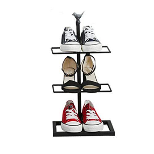Trois-couche chaussure rack fer forgé simple maison de stockage de chaussures rack économie simple armoire à chaussures,Black