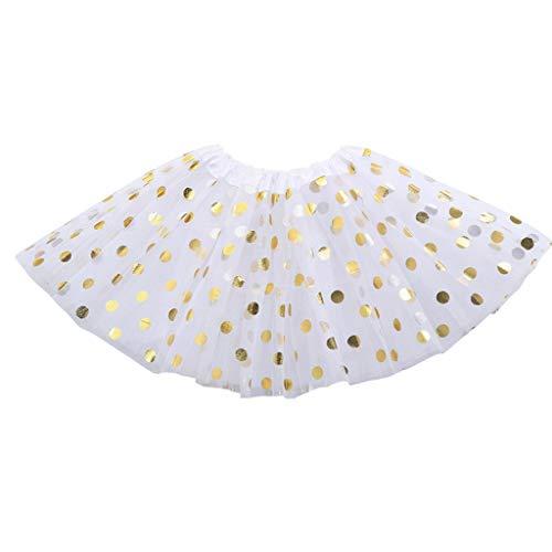 Rongzou Rok - Multi Layers Glitter Goud Dans Kostuum, Mini A-lijn Jurk 5 Kleuren 3-8T Kinderen voor Peuter Meisje