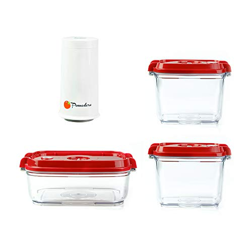 Pomodoro Food Saver Container Set - Great for Marinating Meat & Food (3-Piece + Pump)