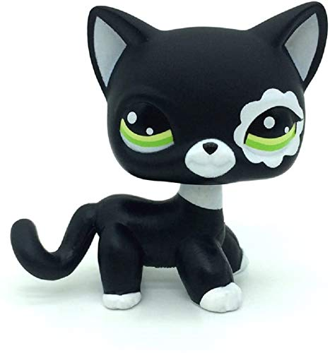 N/N Littlest Pet Shop, LPS Toy Rare Black Short Hair Cat Kitty Animal Figure Tpy LPSs
