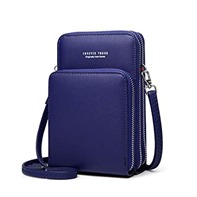 Womens Small Leather Crossbody Phone Purse Shoulder Bag Travel Messenger Handbag Pouch Cellphone Holster Cover Wallet Case Card Holder for iPhone 8 Plus Xs Max X Xr 7/6 Plus Samsung S10+ (Navy Blue)
