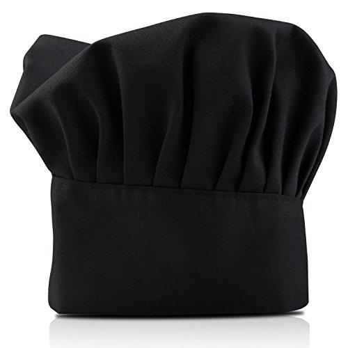 TRIXES Schwarze größenverstellbare Kochmütze - Verstellbare elastische Küchenmütze aus atmungsaktiver Baumwolle - Kochhut für Erwachsene - ideal zur privaten und gewerblichen Verwendung in Hotel und R