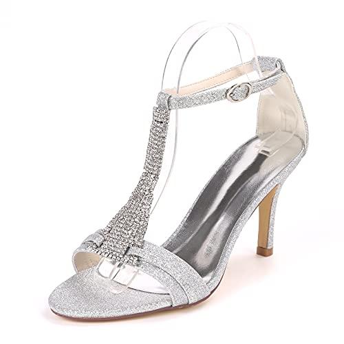 Mujer Zapatos De Boda Tacón De Aguja Sandalias con Punta Abierta Sexy...